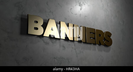Bannières - signe d'or monté sur le mur de marbre brillant - rendu 3D illustration libres de droits. Cette image Banque D'Images