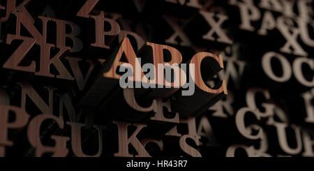 Abc - rendu 3D en bois lettres/message. Peut être utilisé pour une bannière en ligne ou d'une carte postale. Banque D'Images