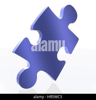 Pièce de puzzle bleu sur blanc, rendre en 3d Banque D'Images