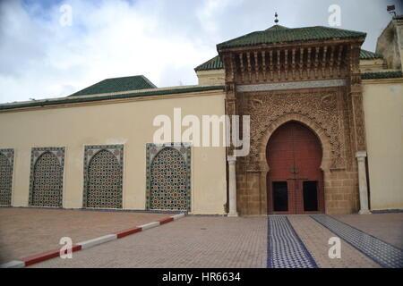 Mausolée de Moulay Ismail à Meknès est la dernière demeure de l'un des plus célèbres du Maroc sultans. Banque D'Images