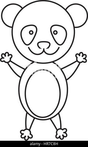 Contour monochrome avec panda mâle Banque D'Images