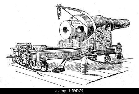 Canon monstrueux de Krupp pour la défense côtière, la situation de l'époque de la guerre franco-allemande ou la guerre franco-allemande, Deutsch-Franzoesischer Krieg, 1870-1871, reproduction d'une gravure originale de l'année 1885, l'amélioration numérique