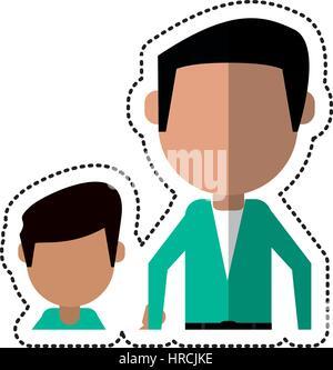 Cartoon père et fils holding hands