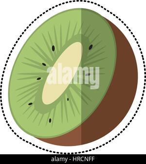 L'icône de fruits tropicaux kiwi cartoon