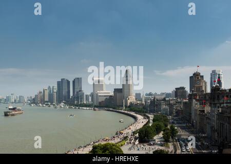 Cityscape of à Shanghai bund avec des bâtiments modernes à Shanghai, Chine. Banque D'Images