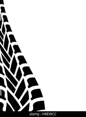 Noir blanc trace de pneu arrière-plan Banque D'Images