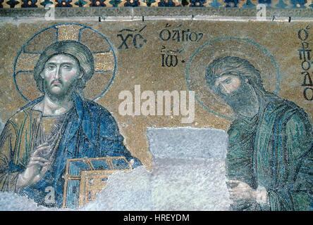 Jésus le Christ ou le Christ Pantocrator tenant une Bible et Jean le Baptiste Mosaïque byzantine (c1261) une partie de la mosaïque dans l'Deësis Sainte-sophie, Sancta Sophia ou église ou Basilique Sainte Sophie Istanbul Turquie