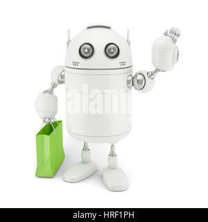 Robot mignon avec panier. Isolé Banque D'Images
