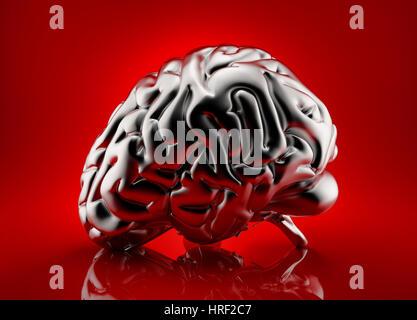 Cerveau humain rendu métallique sur fond rouge Banque D'Images