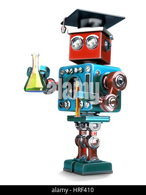 Robot Retro supérieures avec la verrerie de laboratoire. Isolated over white. Contians clipping path Banque D'Images