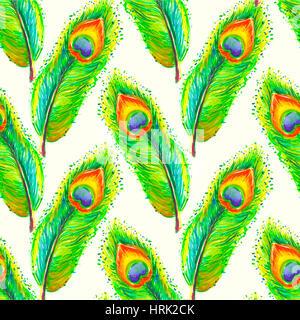 Plumes aquarelle illustration. Faites à la main avec des plumes colorées. Avec des plumes à la main. Feather isolé Banque D'Images