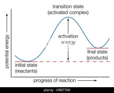 La courbe d'énergie potentielle. Les états de transition de l'Énergie, des progrès de la réaction de l'état de transition, Banque D'Images
