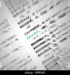 Dictionnaire Concept réussite Macro Texte libre entreprise, métaphore, surligné en vert, Grand Macro Détail Banque D'Images