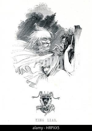 Le Roi Lear, frontispice pour le livre de l'époque victorienne pièce de William Shakespeare dans le livre illustré Banque D'Images