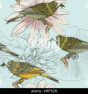 oiseaux et fleurs Banque D'Images