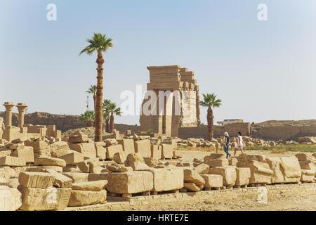 Louxor, Egypte - 15 janvier 2017: Ancien Temple de Karnak. 15 janvier 2017 à Louxor Egypte Banque D'Images