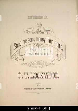 Image de couverture partitions de la chanson 'Send moi un peu d'argent de la maison Chanson et Chorus', avec l'auteur Banque D'Images
