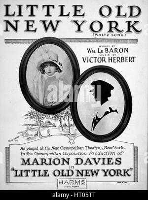 "Sheet Music image de couverture de la chanson 'Little Old New York (valse chanson)', avec l'auteur original ""Lecture Banque D'Images"