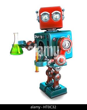 Robot rétro avec la verrerie de laboratoire. Isolated over white. Contians clipping path Banque D'Images