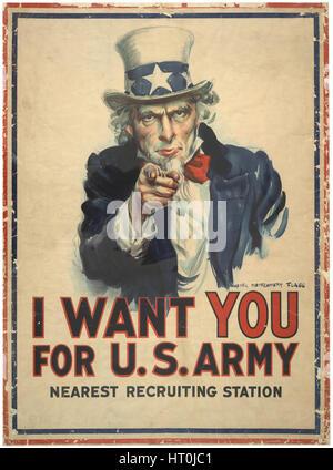 La Première Guerre mondiale, l'affiche de recrutement pour l'armée américaine avec l'Oncle Sam par l'artiste James Banque D'Images