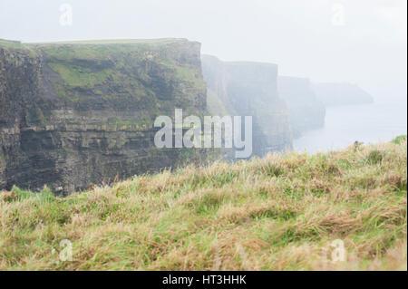 Les falaises de Moher dans le brouillard Banque D'Images