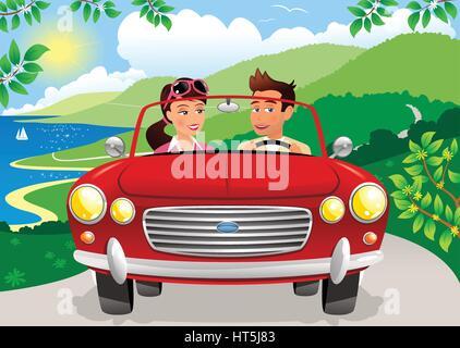 Un couple en voiture sur une route côtière d'1h30 en voiture de sport. Banque D'Images