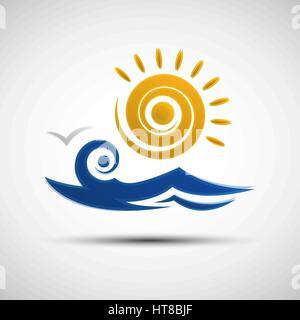 Vector illustration of abstract Sea waves et logo sun modèle pour votre conception Banque D'Images