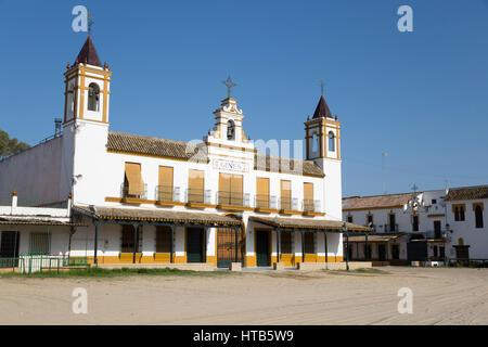 Les rues de sable et de fraternité habitations, El Rocio, Province de Huelva, Andalousie, Espagne, Europe