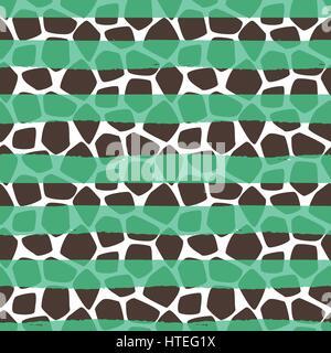 Motif girafe peau transparente vecteur. La texture des animaux avec les taches de fond vert d'accidents vasculaires Banque D'Images