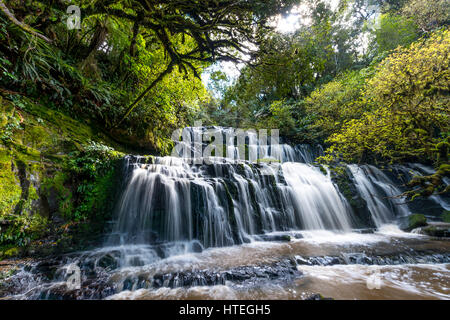 Purakaunui Falls, une cascade, l'Otago, Catlins, Southland, Nouvelle-Zélande