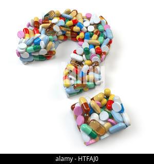 Point d'interrogation rouge de comprimés et gélules sur fond blanc. Les problèmes médicaux et de médicaments. 3d Banque D'Images