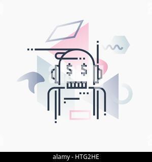 Robo-conseiller, service financier de l'intelligence artificielle. Abstract illustration concept. Banque D'Images