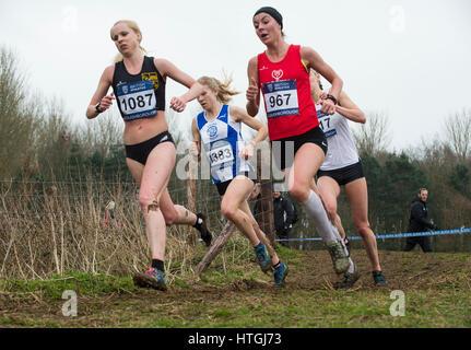 Prestwold Hall, Loughborough 11 Jessica Judd (968) sur son chemin pour gagner la course féminine senior à l'Athlétisme Banque D'Images