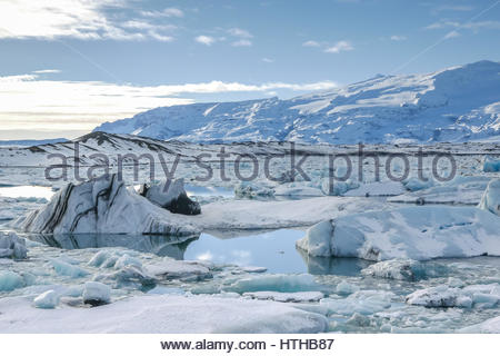 Les icebergs au Glacier Jökulsárlón Lagoon, Iceland Banque D'Images