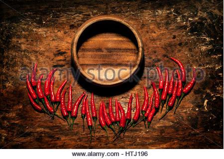 Red Hot Chili Peppers avec plaque en bois rustique en bois plus en arrière-plan avec une place pour une inscription. Banque D'Images