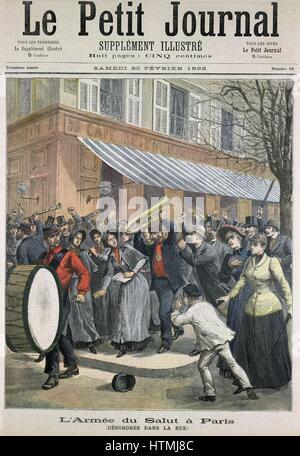 Armée du salut mars mené par le batteur d'être barracked par les spectateurs à Paris. À partir de 'Le Petit Journal' Banque D'Images