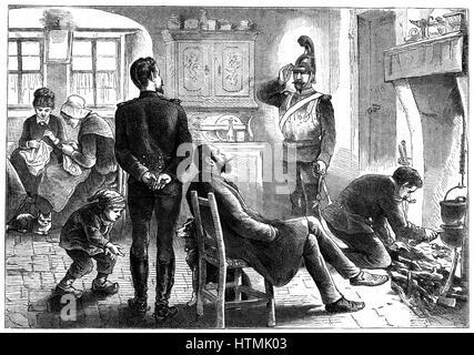 Guerre franco-prussienne de 1870-1871: en possession. Les officiers prussiens cantonnés sur une famille française, décembre 1871. Gravure