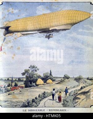 Dirigeable militaire française La République pour son premier vol de Paris à Compiègne. À partir de 'Le Petit Journal' Banque D'Images