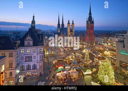 Marché de Noël Halle/Saale, Saxe-Anhalt, Allemagne Banque D'Images