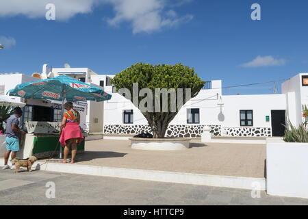 Météo de glaces sur La Graciosa, Îles Canaries. Banque D'Images