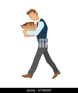 Mettre à pied télévision vector illustration. l'homme a rejeté à partir de travaux en cours avec une boîte d'effets Banque D'Images