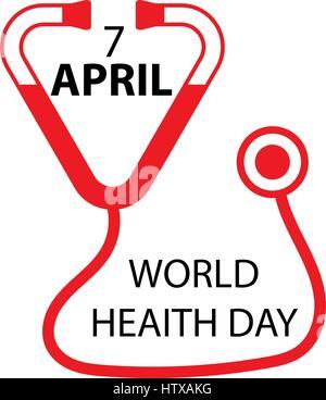 Concept de la journée mondiale de la santé. Icône stéthoscope sur fond blanc. Vector illustration. Banque D'Images