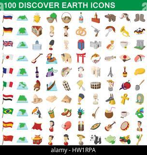 Découvrez 100 terre icons set, cartoon style Banque D'Images