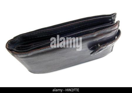 Usé vieux grungy grunge Noir Etui en cuir, gros plan vertical isolé Banque D'Images