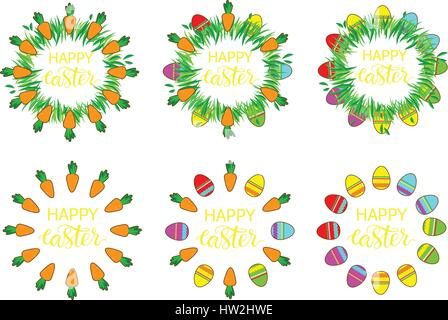 Étiquette de Pâques avec des oeufs et des carottes. Décoration de pâques modèle. Ensemble autocollant drôle de Pâques. Banque D'Images