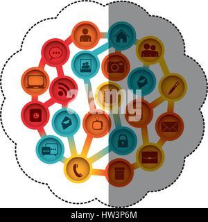Les boutons colorés autocollant silhouette avec des éléments de connectivité et de technologie