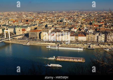 Vue depuis la citadelle jusqu'au Danube, pont Elisabeth, ravageur. L'Europe du sud-est de la Hongrie, Budapest Banque D'Images