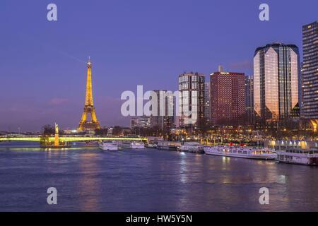 France Paris site du patrimoine mondial de l'Unesco les rives de la rivière Seine quartier Front de Seine quai André Banque D'Images