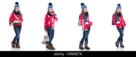 Adorable girl outdoors on beautiful autumn day  Pretty smiling little Girl  with curly hairstyle portant chandail tricoté, foulard et chapeau avec  skates f6253076669