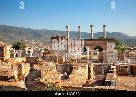 La Turquie, Région de l'Egée, Province d'Izmir, Selcuk, Selçuk, la FEAS, Basilique de Saint John, classé au Patrimoine Banque D'Images